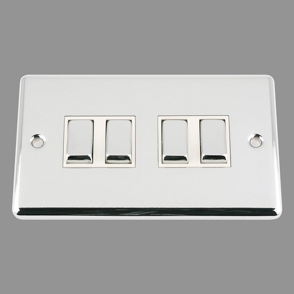 Switch 4 Gang White Insert Metal Rocker