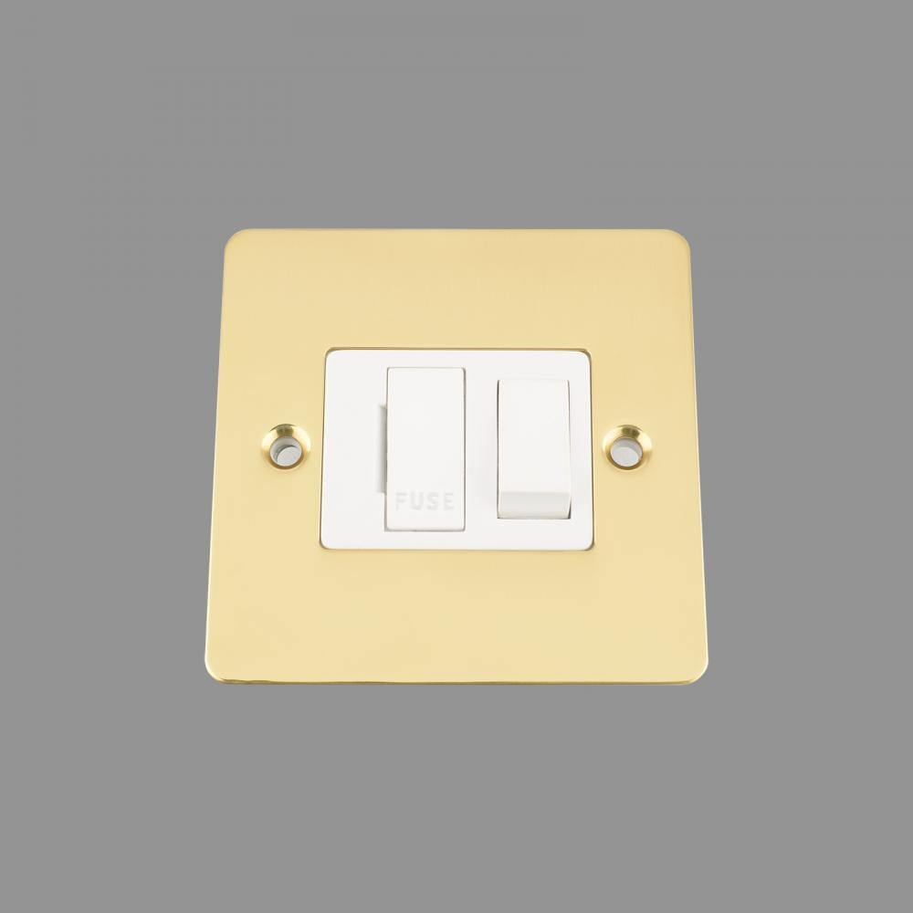 Switched Fused Spur -Polished Brass Flat - White Insert - Plastic Rocker Switch