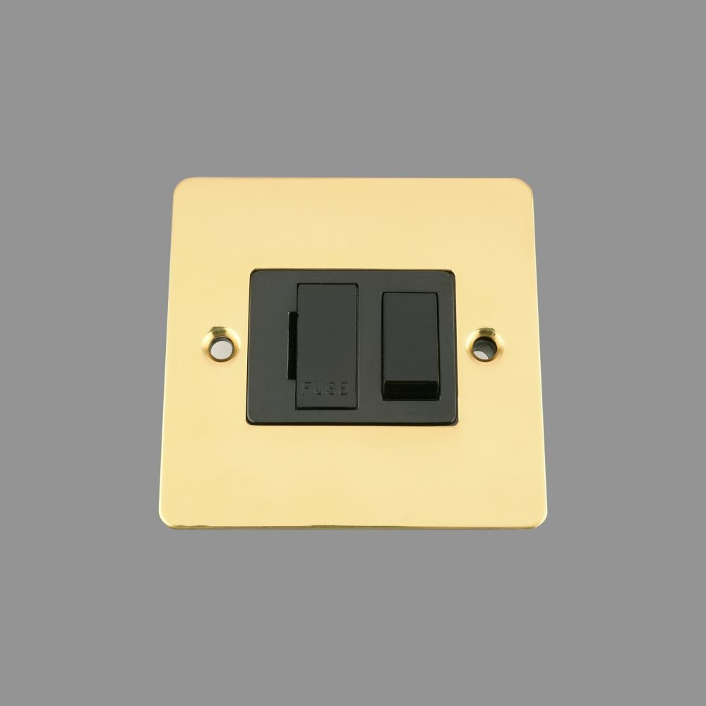 Switched Fused Spur -Polished Brass Flat - Black Insert -Plastic Rocker Switch
