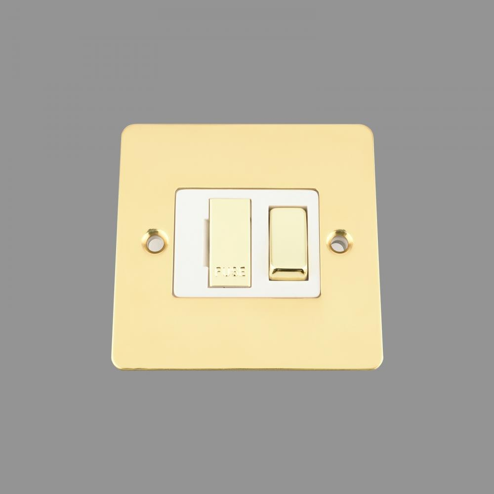 Switched Fused Spur -Polished Brass Flat - White Insert -Metal Rocker Switch