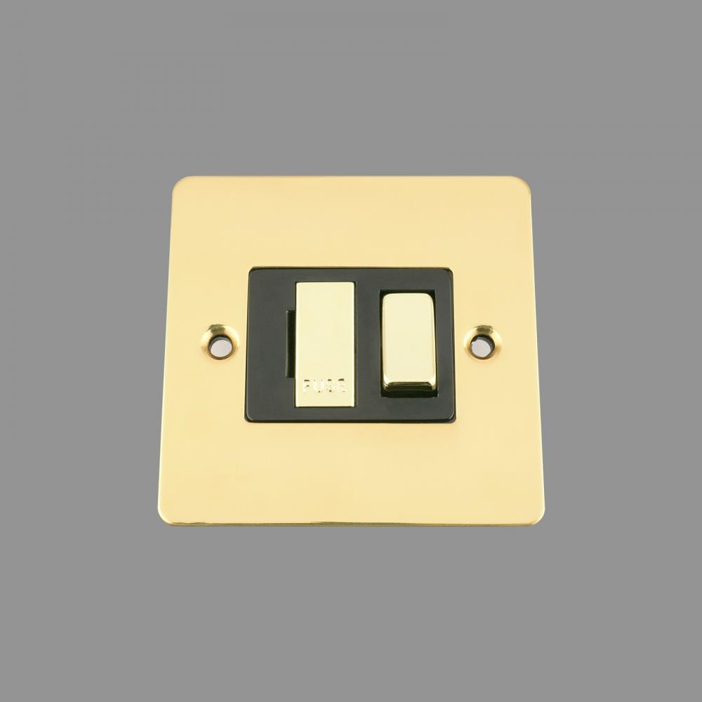 Switched Fused Spur -Polished Brass Flat - Black Insert -Metal Rocker Switch