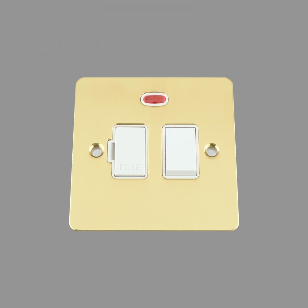 FUSED SPUR SWITCH WITH NEON 13AMP WHITE INSERT PLASTIC ROCKER