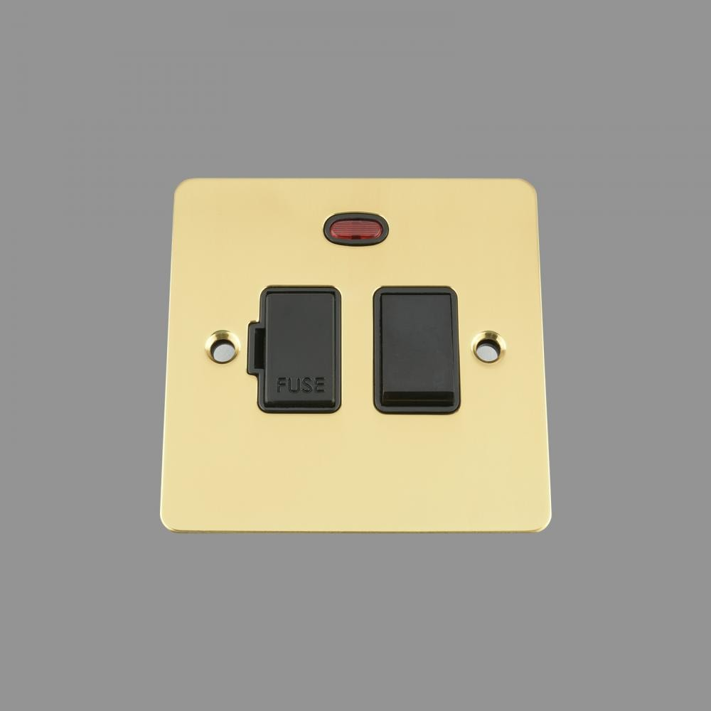 FUSED SPUR SWITCH WITH NEON 13AMP BLACK INSERT PLASTIC ROCKER