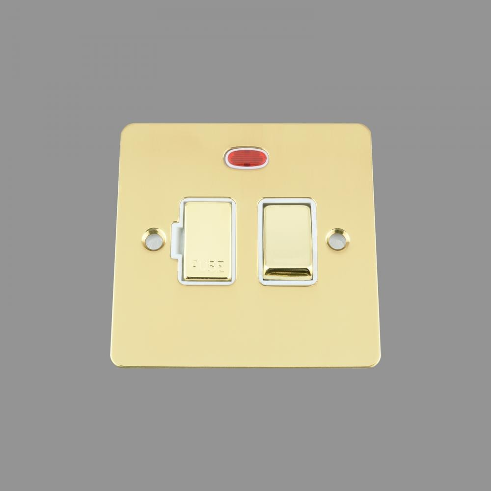 FUSED SPUR SWITCH WITH NEON 13AMP WHITE INSERT METAL ROCKER