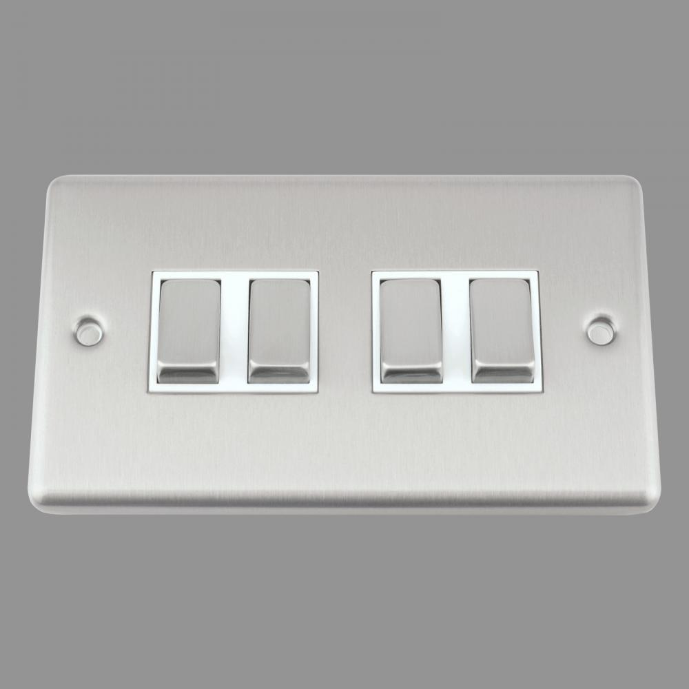 White Insert Metal Rocker Switch