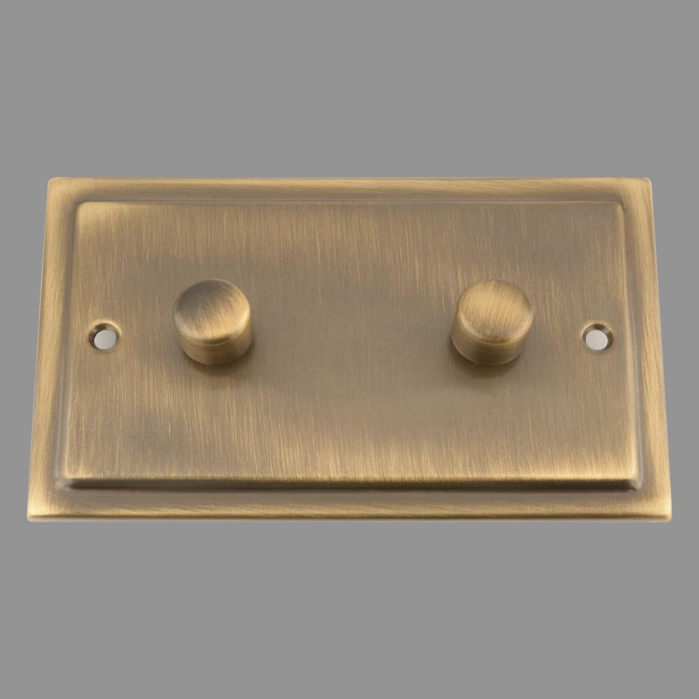 Dimmer Switch; Antique Brass Victorian; 2 Gang; 400W (WIDE)