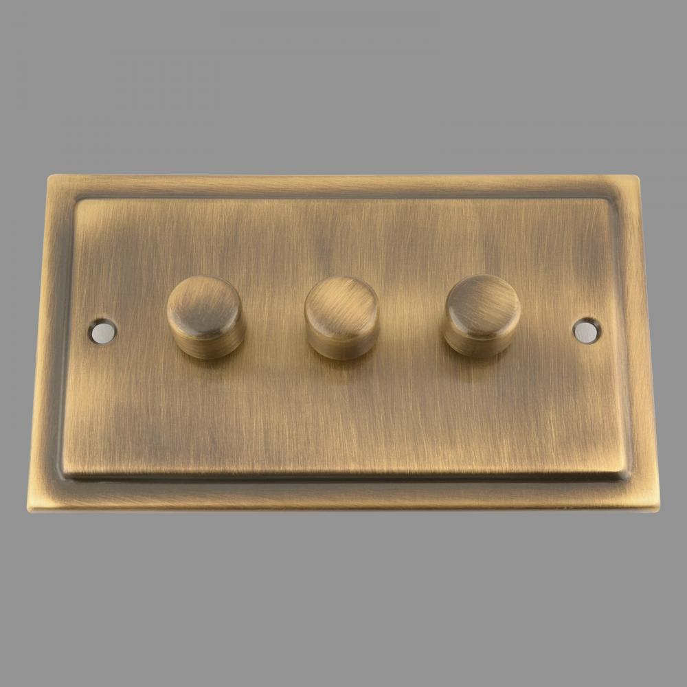 Dimmer Switch; Antique Brass Victorian; 3 Gang; 400W