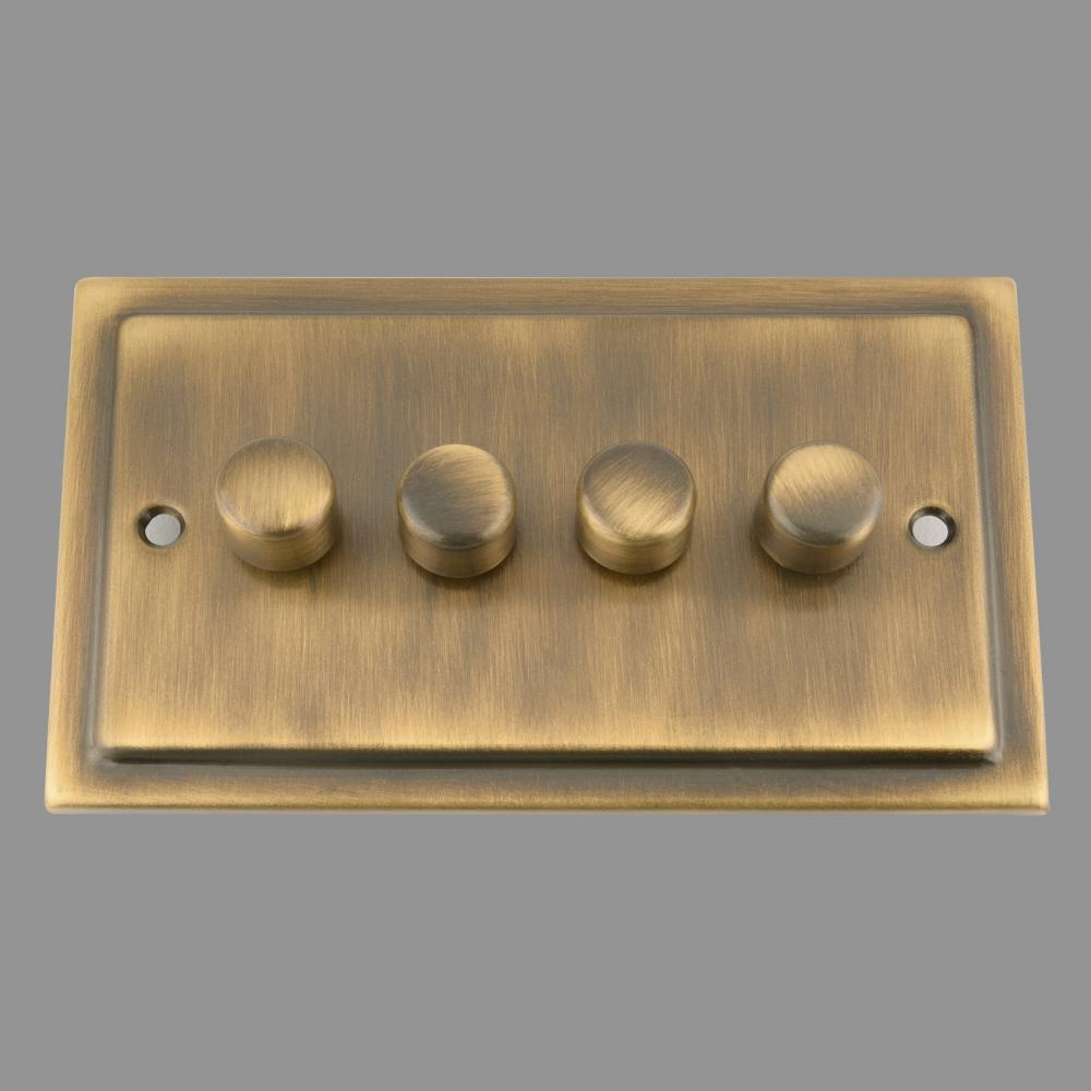 Dimmer Switch; Antique Brass Victorian; 4 Gang; 400W