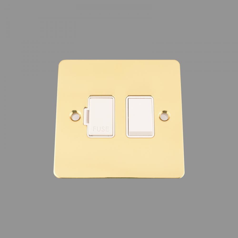 SWITCHED FUSED SPUR -POLISHED BRASS FLAT - WHITE INSERT - PLASTIC ROCKER SWITCH (NEW)