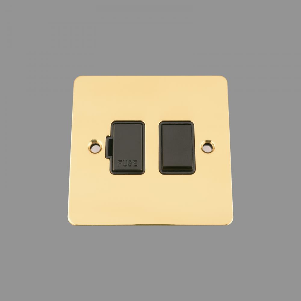 SWITCHED FUSED SPUR -POLISHED BRASS FLAT - BLACK INSERT - PLASTIC ROCKER SWITCH (NEW)