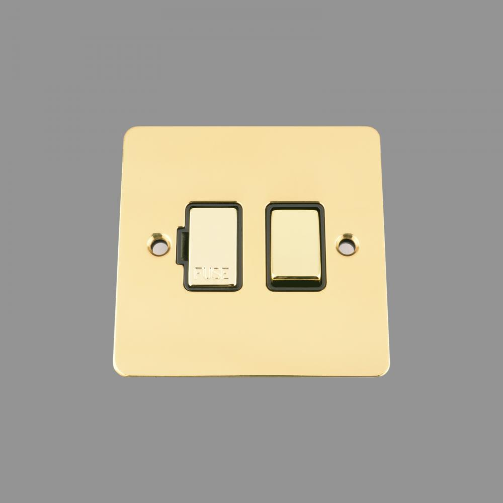 SWITCHED FUSED SPUR -POLISHED BRASS FLAT - BLACK INSERT - METAL ROCKER SWITCH (NEW)
