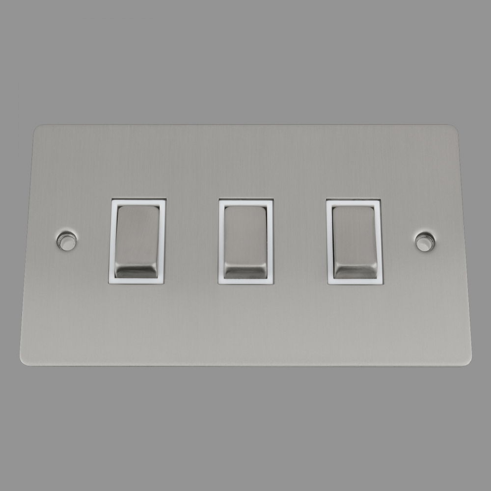Switch 3 Gang (wide-in double gang plate) White Insert Metal Rocker Switch