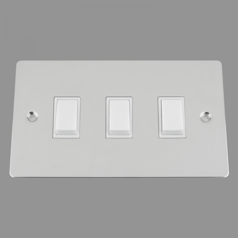 White Insert Plastic Rocker Switch (double plate)