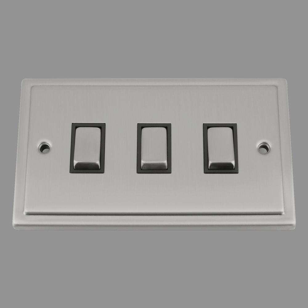 Switch 3 Gang (wide-double gang plate) Black Insert MEtal Rocker Switch
