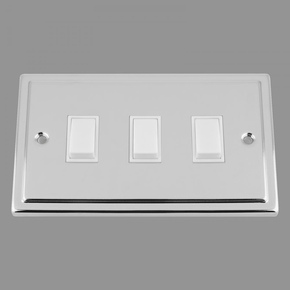 White Insert Plastic Rocker Switch (double plate)