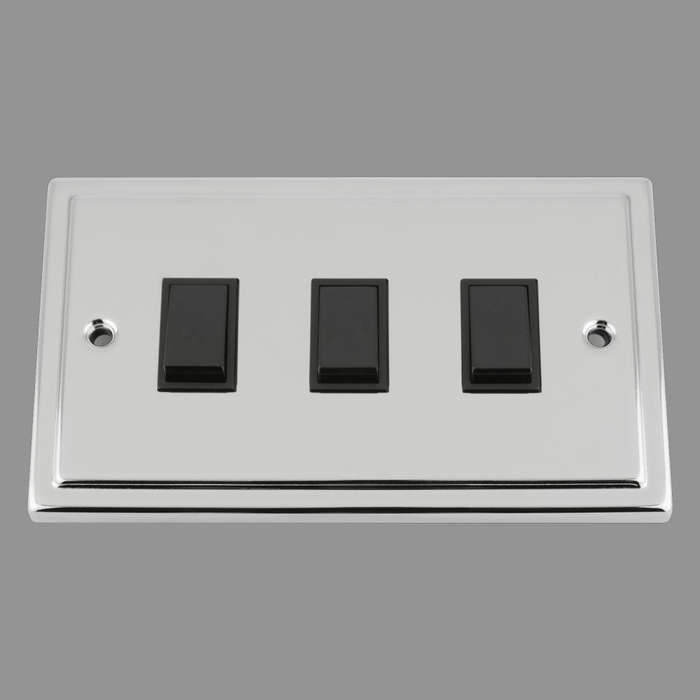 Black Insert Plastic Rocker Switch (double plate)