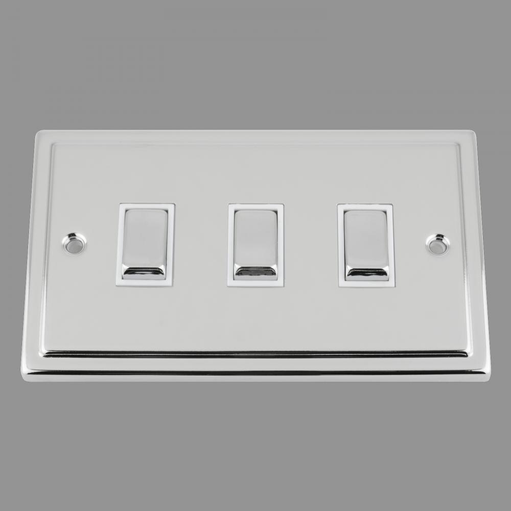 White Insert Metal Rocker Switch (double plate)