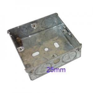 Wall Pattress Back Box Single 1 Gang 25mm Steel Metal