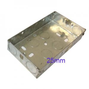 Wall Pattress Back Box Double 2 Gang 25mm Steel Metal