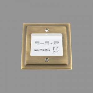 ANTIQUE BRASS VICTORIAN Shaver Socket 115V/230V Single White