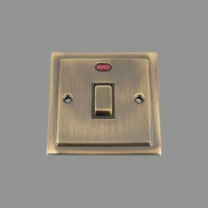 ANTIQUE BRASS VICTORIAN Switch 20Amp Black Insert Metal Rocker Switch