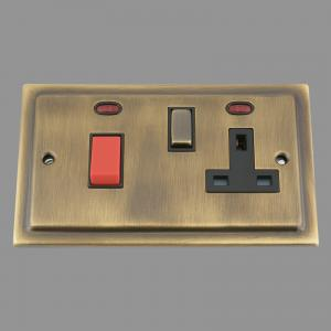 ANTIQUE BRASS VICTORIAN Cooker Control Unit 45Amp Switch With 13Amp Socket Black Insert