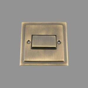 ANTIQUE BRASS VICTORIAN Fan Isolator Switch Black Insert Metal Rocker Switch