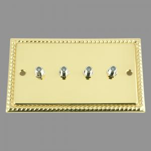 BRASS GEORGIAN SKY / Satellite Socket 4 Gang