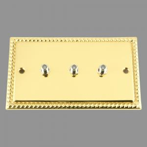 BRASS GEORGIAN SKY / Satellite Socket 3 Gang