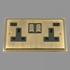 ANTIQUE BRASS VICTORIAN USB Socket 3.1A 2 gang Black Insert Metal Rocker Switch
