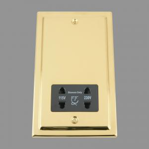 BRASS VICTORIAN Shaver Socket 115V/ 230V Double; Black