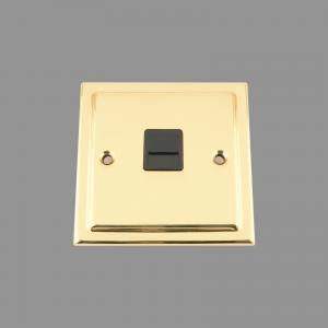 BRASS VICTORIAN Telephone Socket Master / Main Black Insert