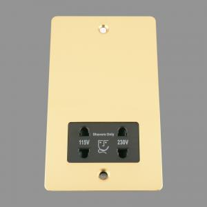 BRASS FLAT Shaver Socket 115V/ 230V Double; Black Insert