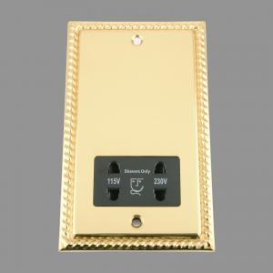 BRASS GEORGIAN Shaver Socket 115V/ 230V Double; Black Insert