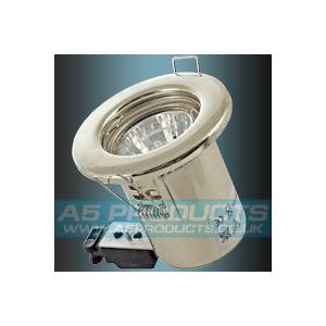 IP20 GU10 SATIN Brushed / Polished CHROME Fixed Fire Rated Downlighter
