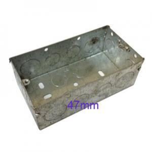 Wall Pattress Back Box Double 2 Gang 47mm Steel Metal